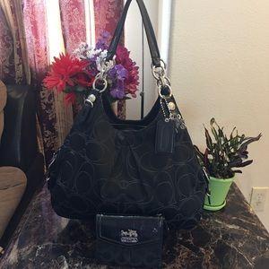 Coach Madison Maggie Mia Black Shoulder Bag Set